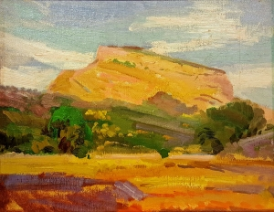 George Edmund Barker Jr Distant Mesa 9x12 Oil on Board