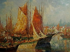 George F Kaumeyer Tuna Fishing Boats Brittany 24x32 Oil on Board