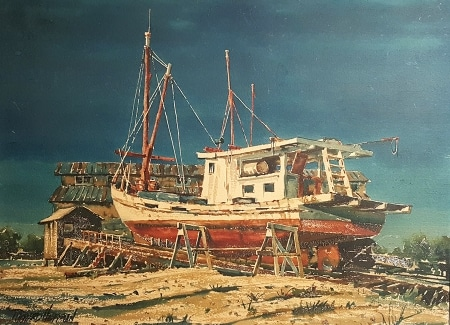 Richard Hoffman Boat at Dry Dock 22x30 Watercolor