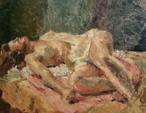 Unknown Artist Reclining Nude 16x20 Oil on Board