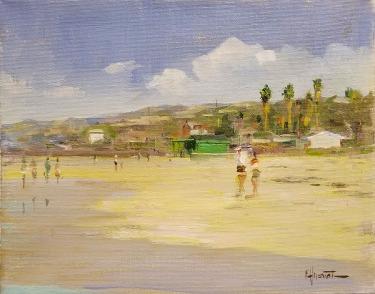 Felice Hrovat Beach at Crystal Cove 9x12 Oil on Canvas