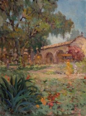 Felice Hrovat Capistrano Courtyard 12x10 Oil on Canvas