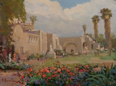 Felice Hrovat Capistrano Mission Gardens 12x16 Oil on Board