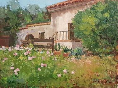 Felice Hrovat Hacienda Hideaway 9x12 oil on canvas