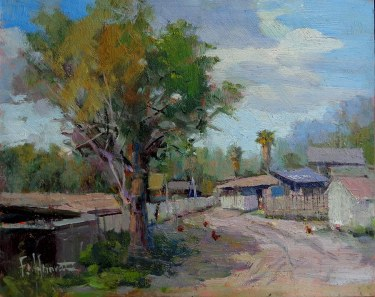 Felice Hrovat Mexican Village 9x12 Oil on Board