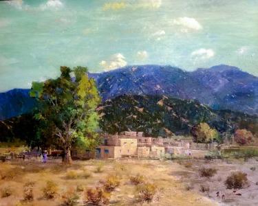 Felice Hrovat Taos Pueblo 24x30 Oil on Canvas