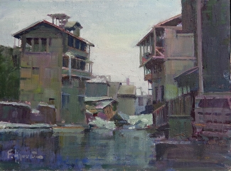 Felice Hrovat Backwater Tenements 9x12 Oil on Board