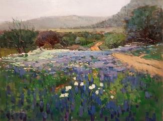 Felice Hrovat Bluebonnets 12x16 Oil on Canvas