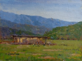 Felice Hrovat By the Hay Barn 9x12 Oil on Board