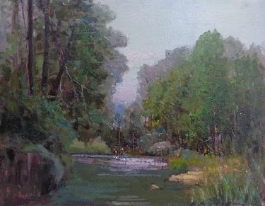 Felice Hrovat Crossing the Stream 11x14 Oil on Canvas