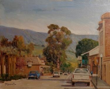 Felice Hrovat Downtown Capistrano Street 9x12 Oil on Canvas