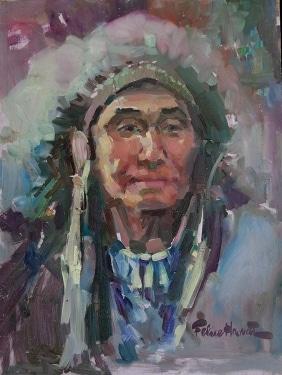 Felice Hvorat Indian Chief 16x12 Oil on Board