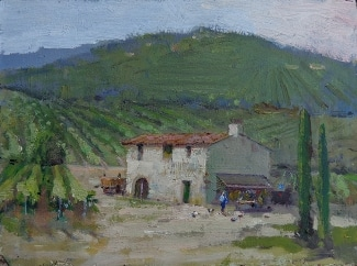 Felice Hrovat Italian Countryside Winery 6x8 Oil on Board