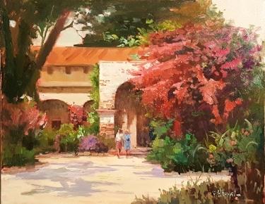 Felice Hrovat Mission Entrance 16x20 Oil on Canvas