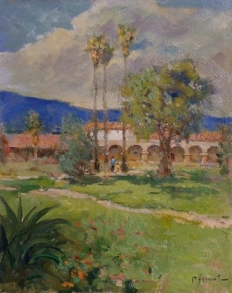 Felice Hrovat Mission Palms 12x10 Oil on Canvas