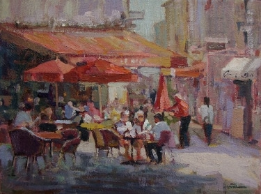 Felice Hrovat Outdoor Cafe 9x12 Oil on Board