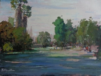 Felice Hrovat Park Shadows 9x12 Oil on Board