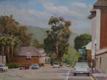 Felice Hrovat Street in San Juan Capistrano 9x12 Oil on Canvas Board