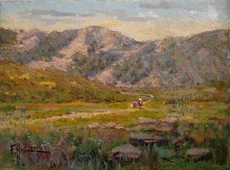 Felice Hrovat The Dusty Trail 9x12 Oil on Board