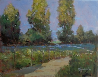 Felice Hrovat Through the Eucalyptus 11x14 Oil on Board