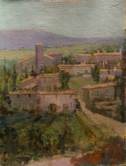 Felice Hrovat Village in Wine Country 12x9 Oil on Canvas