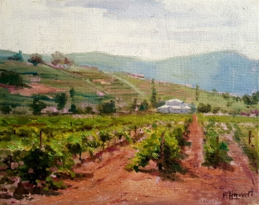 Felice Hrovat Vineyards Central Valley 9x12 Oil on Canvas
