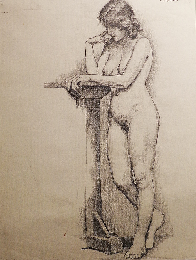 EG Brown Nude with Podium 25x19 Drawing