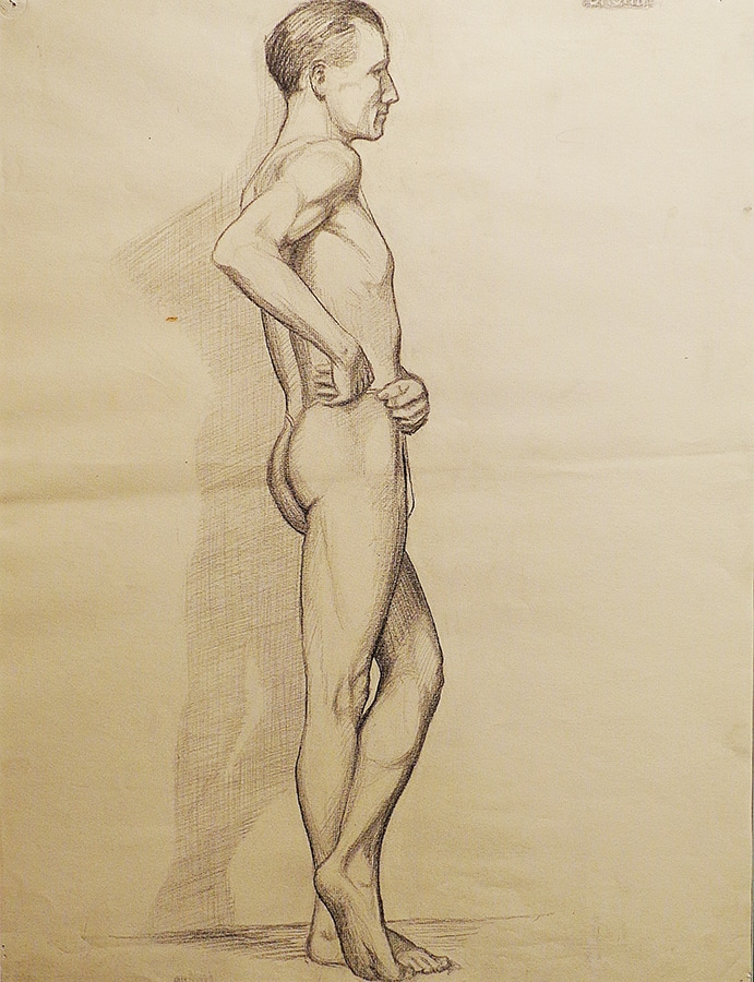 EG Brown Standing Nude Male 01 25x19 Drawing