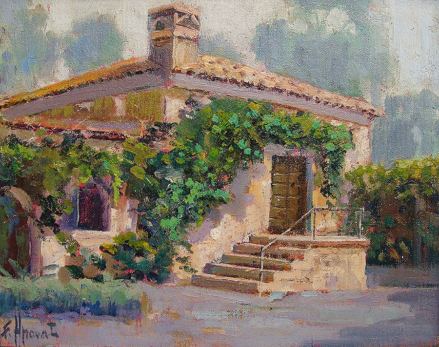 Felice Hrovat The Old Mill South Pasadena 9x12 Oil on Board