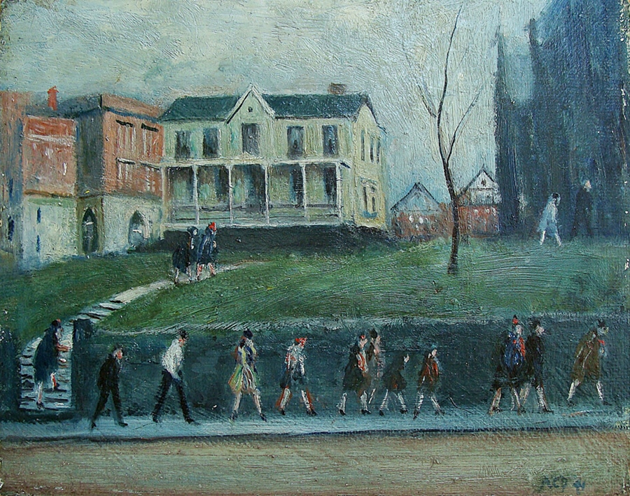 Unknown Artist Sunday Morning Parade 9x12 Oil on Board