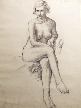 EG Brown Nude Study 02 25x19 Drawing