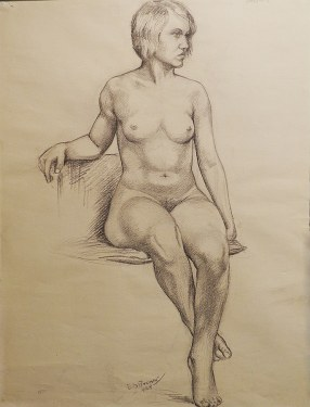 EG Brown Nude Study 25x19 Drawing