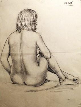 EG Brown Sitting Nude 01 25x19 Drawing