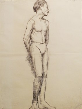 EG Brown Standing Nude Male 02 25x19 Drawing