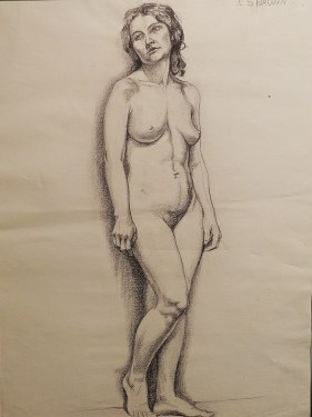 EG Brown Standing Nude Woman 25x19 Drawing