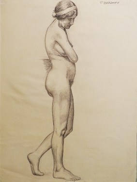 EG Brown Standing Nude 03 25x19 Drawing