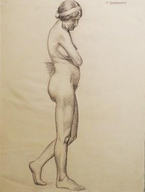 EG Brown Standing Nude 03 25x19 Drawing