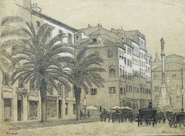 J. Mason Reeves  Street in Rome  8x10 pencil drawing