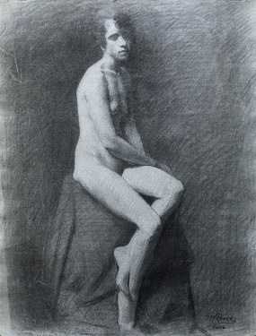 J. mason Reeves  Sitting nude  24x18 pencil drawing