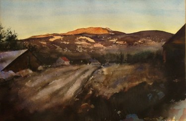 Clark Lewis Days End 15x24 Watercolor