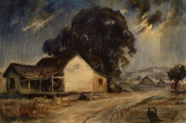 Einar Hansen Moonlit Farmhouse 15x22 Watercolor
