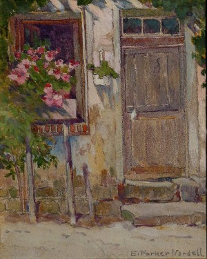 Emma Parker Nordell, Gloucester Doorway, 6x5 Watercolor