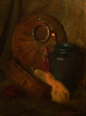 Francis Bradford Still Life with Baskets 24x16 Oil on Canvas