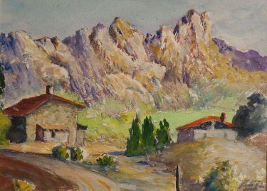 Henry H Smithers, California Mountain Retreat, 5x6 Watercolor