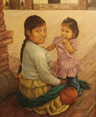 J. Williams Indian Mother and Child 24x20 Oil on Canvas