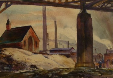 Ramon Garcia Industry and Religion 18x24 Watercolor