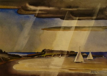 Ramon Garcia Inlet with Sailboats 20x24 Watercolor