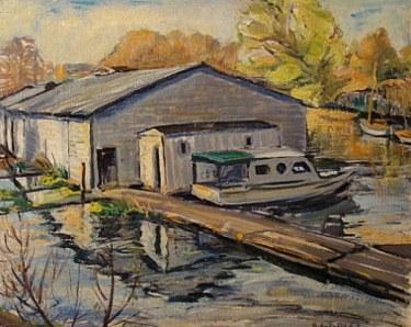 Ruby Zahn White Sacramento Delta Dock 20x24 Oil
