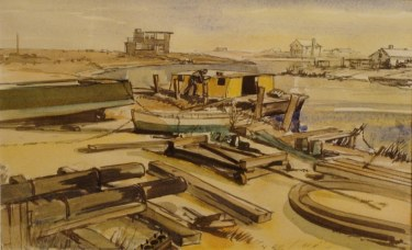 Unknown Artist Loading the Barge–1948 10x14 Watercolor