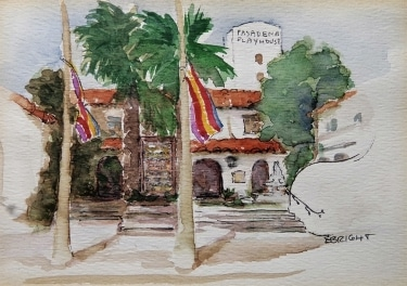 E. Bright Pasadena Playhouse 5x7 Watercolor